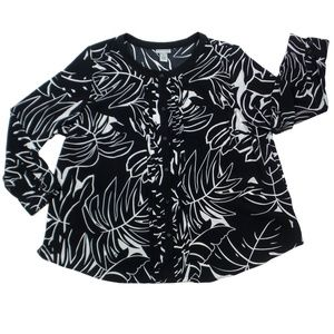 CATHERINES | Black/White Floral Tunic (Size 2X)